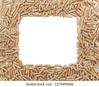 Frame made with alternative biofuel from sawdust wood pellets.