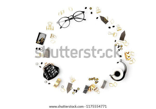 Frame made of black and white Business Stationery. Flat lay, top view