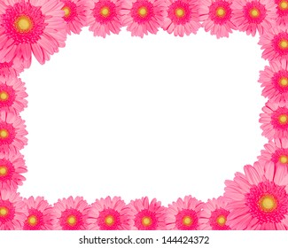 frame made of flowers isolated on a white background