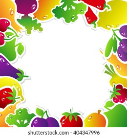 Frame made of fruits and vegetables: olives, broccoli, chili, carrots, cherries, berries, pears, plums, tomatoes, eggplant, raspberries, onion, apple, mango, beets, strawberries, lemon.