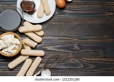 frame made of Ingredients for making traditional Italian dessert Tiramisu