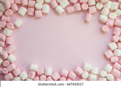 frame made of marshmallows . the concept of childhood.