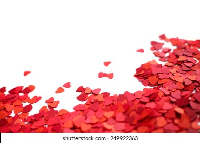 Frame made of paper hearts, isolated on white background, Valentines day concept