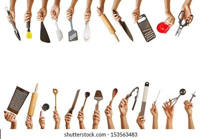 Frame with many hands holding different kitchen tools like knife, scissors and spoon
