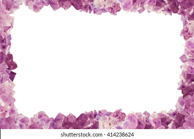 Frame with many stones Amethyst, border center isilated  Background for texture,taxt, image