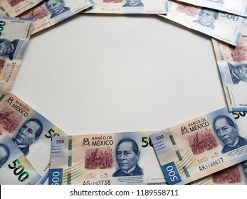 frame with mexican banknotes of 500 pesos, background and texture
