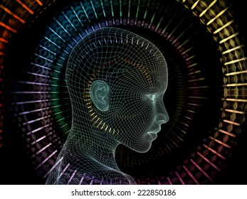 Frame of Mind series. Artistic background made of human face wire-frame and fractal elements for use with projects on mind, reason, thought, mental powers and mystic consciousness