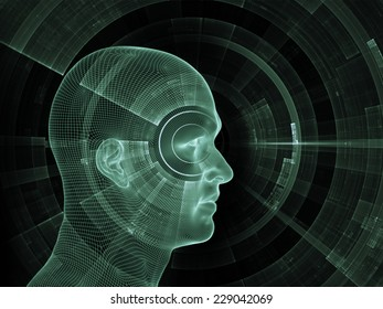 Frame of Mind series. Composition of human face wire-frame and fractal elements with metaphorical relationship to mind, reason, thought, mental powers and mystic consciousness