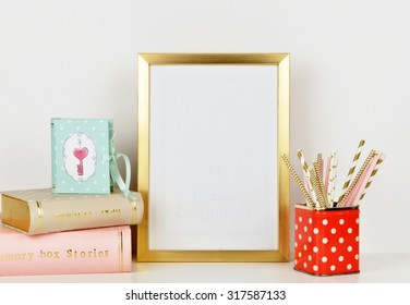 Frame mock up vintage and shabby style, red polka dots