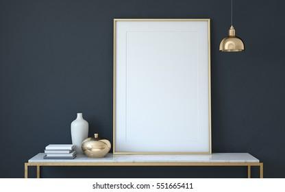 Frame mockup. Interior with large frame. 3d render.