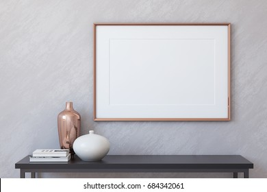 Frame mockup. Interior with large horizontal frame. 3d render.