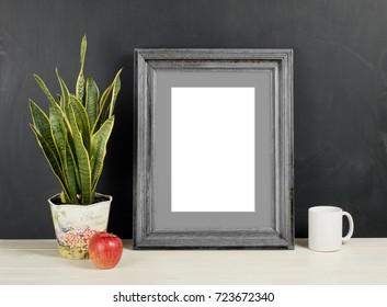 Frame Mockup With Plant Pot Apple And Mug Empty Mock Up For Presentation