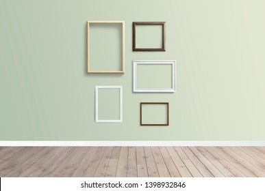 Frame mockups against a green wall