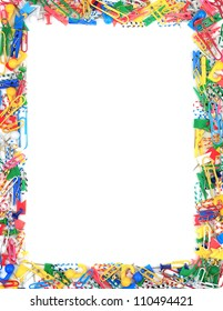 Frame of office supplies isolated on a white background