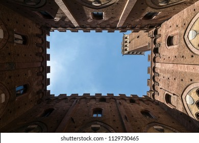Frame of old building of stable in Siena, Italy.