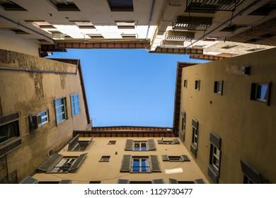 Frame of old buildings in Siena, Italy.