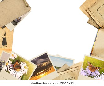Frame with old paper and photos. Objects isolated over white