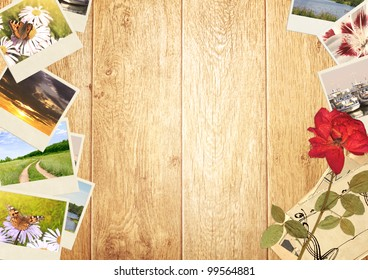 Frame with old photos and dried flower