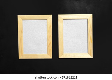 frame on black slate background