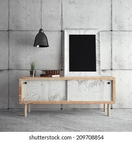 Frame on table in room