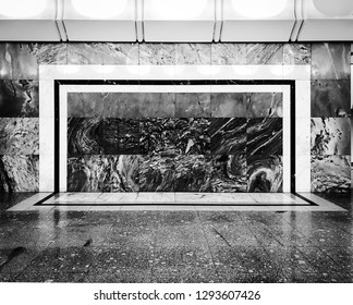 Frame on the wall and floor on black and white tone