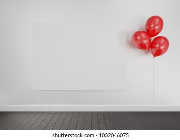 Frame on a wall with red balloons and wooden floor. Advertisement template. 3D rendering.