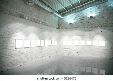 frame on white brick wall