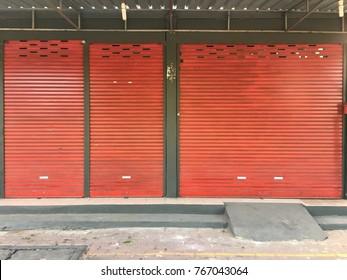 Frame of orange shutter door.