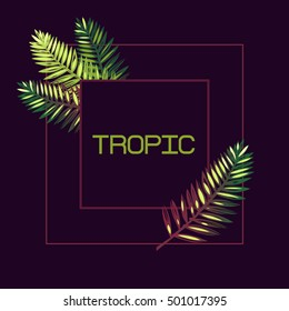 """Frame with palm leaves and the word """"tropic"""" on a dark background. Lettering. Border. Exotics."""