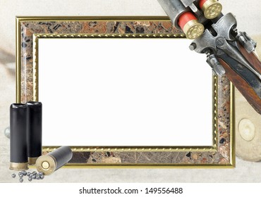 frame for photo with hunting accessories