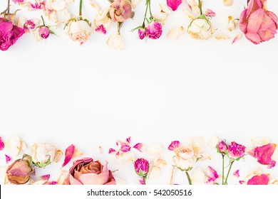 Frame with pink roses isolated on white background, Flat lay, Top view