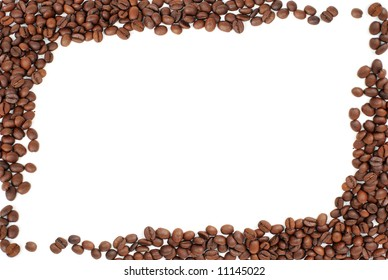 frame of red brown coffee beans