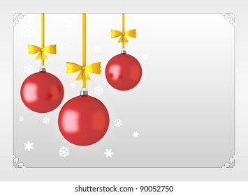 Frame with red Christmas balls with golden ribbons and place for wishes.