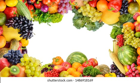 Frame of set vegetables and fruits on white background. Top view. Free space for text. Panoramic collage.