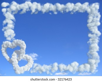 frame in sky and two hearts