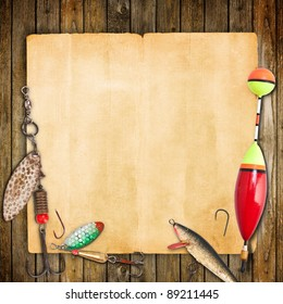 Frame with spinner lures and fishing floats.