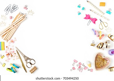 Frame with stylish stationery. Flat lay, top view trendy back to school concept.