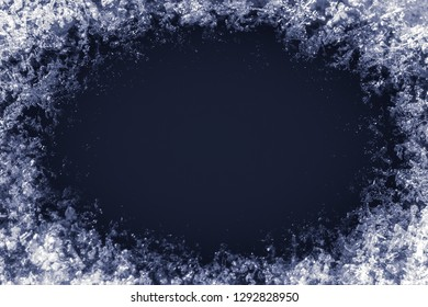 frame texture of blue ice snow for mockup or background