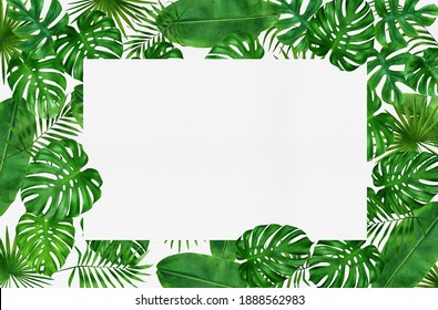 frame of tropical leaves watercolor