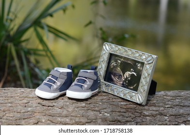 Frame with ultrasound photo and baby shoes on wood with lake background