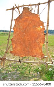 Frame used for making leather from animal hides during the Ice Age