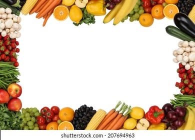 Frame from vegetarian fruits and vegetables isolated with copyspace