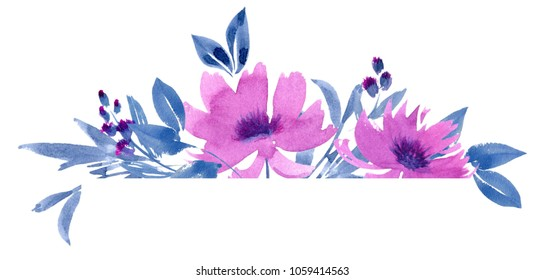 Frame of watercolor leaves and flowers on a white background. Lilac and indigo. Floral design elements. Perfect for wedding invitations, greeting cards, blogs, logos, prints and more