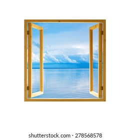 frame window open wooden sky water clouds view background