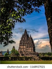 Frame within frame Prambanan temple with cloudy blue sky background, Yogyakarta, Indonesia