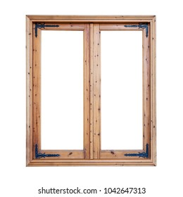 Frame of a wooden window isolated made of softwood