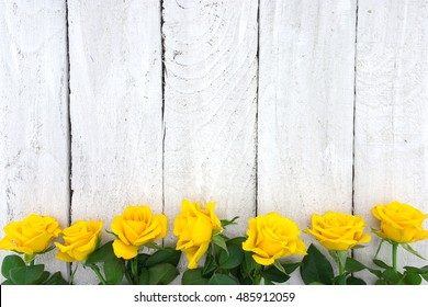Frame of yellow roses on white rustic wooden background. Valentine's Day and Mother's Day background. Holiday mock up. Top view
