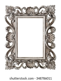 Frame your picture, photo, image. Vintage silver baroque style object isolated on white background