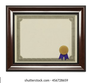 Framed Diploma with Seal and Ribbon Isolated on White Background.