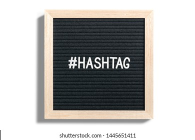 Framed HASHTAG in white text over plain white background to symbolize social networking